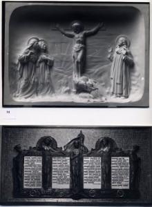 St. Marks Church, North Audley Street, London. War Memorial in bronze and gold mosaic, marble Altar piece above, sculpture by Thomas Mewburn Crook