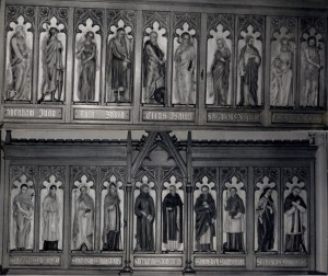 St. Marys Church, Standishgate, Wigan, Old and New Testament Saints Panel 1908, sculpture by Thomas Mewburn Crook